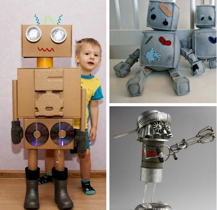 Поделка робот из подручных материалов