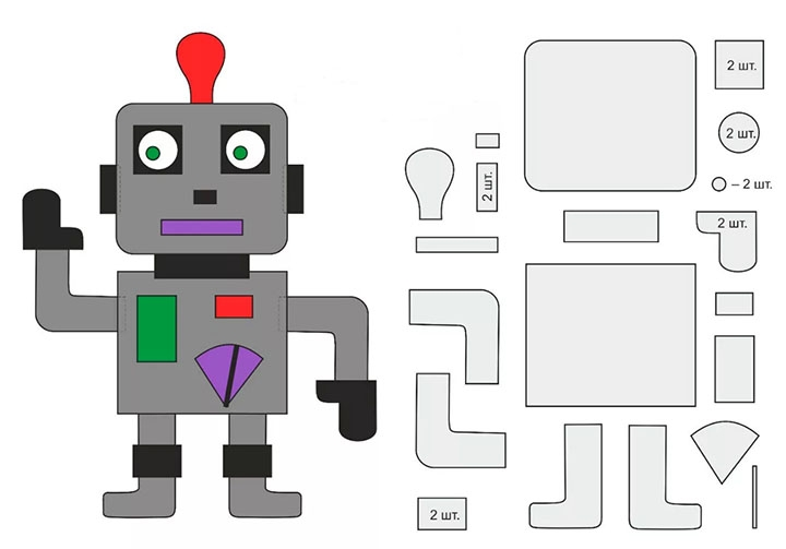 Робот-поделка из бумаги
