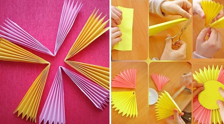 Схема изготовления бумажного солнышка-гармошки