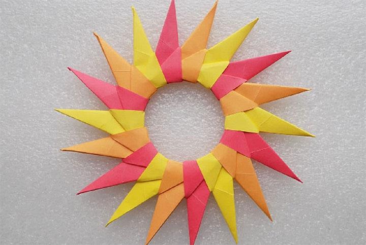 Солнышко в технике модульного оригами