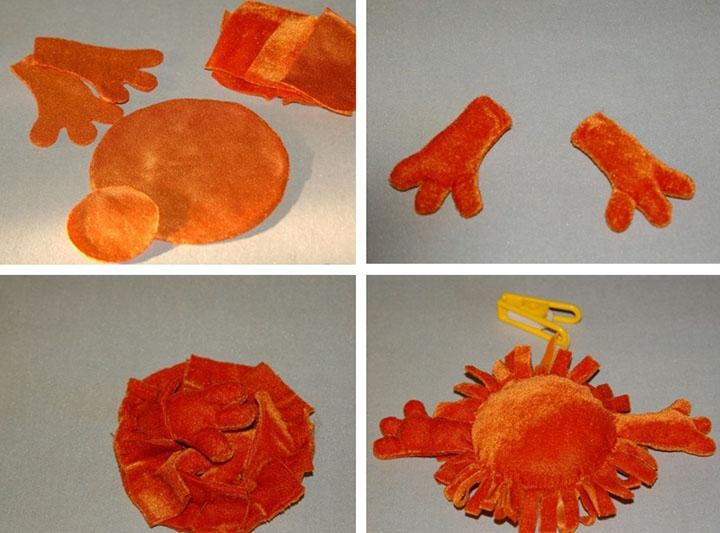 Подушка-солнышко из текстиля