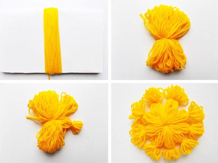 Этапы изготовления солнышка из ниток