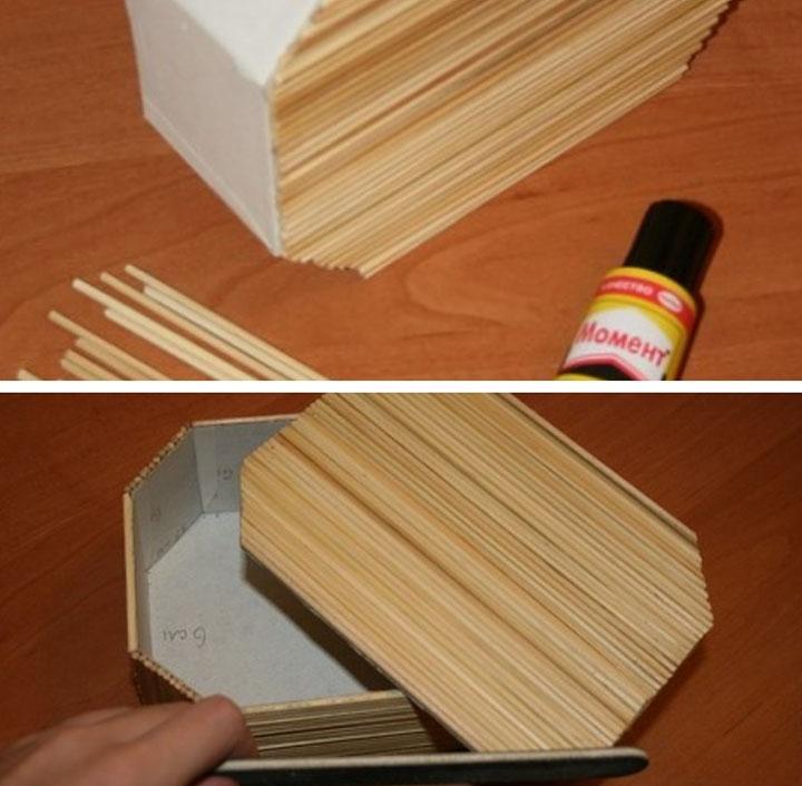 Этап изготовления шкатулки из шпажек