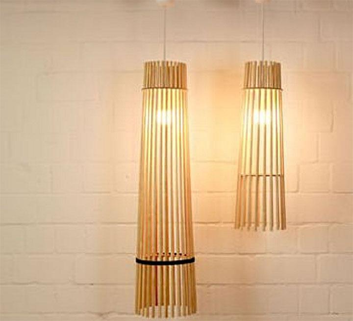 Светильник из деревянных шпажек