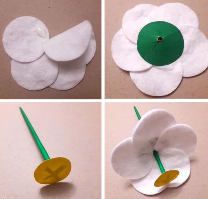 Этапы изготовления ромашки из ватных дисков