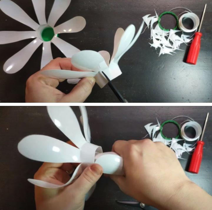 Этапы изготовления ромашки из пластиковых бутылок