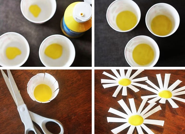 Изготовление ромашек из пластиковых стаканчиков