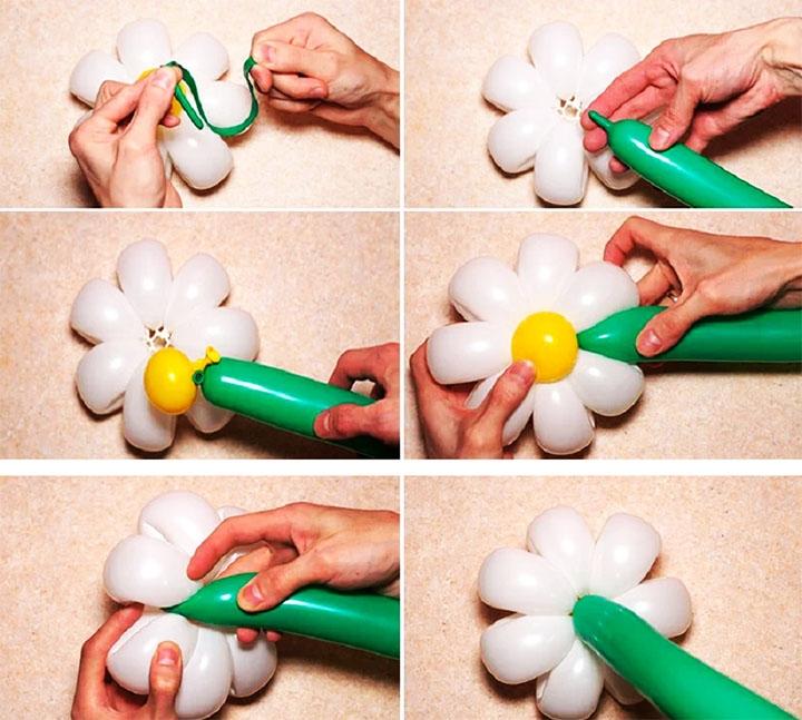 Этапы изготовления ромашки из шариков