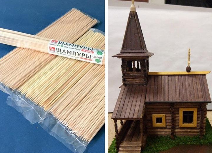 Церковь из деревянных шпажек