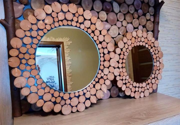 Зеркала в рамке из спилов дерева