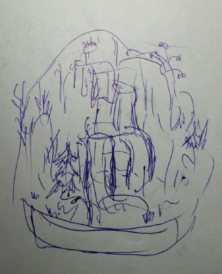 Схема водопада из клея и пенопласта