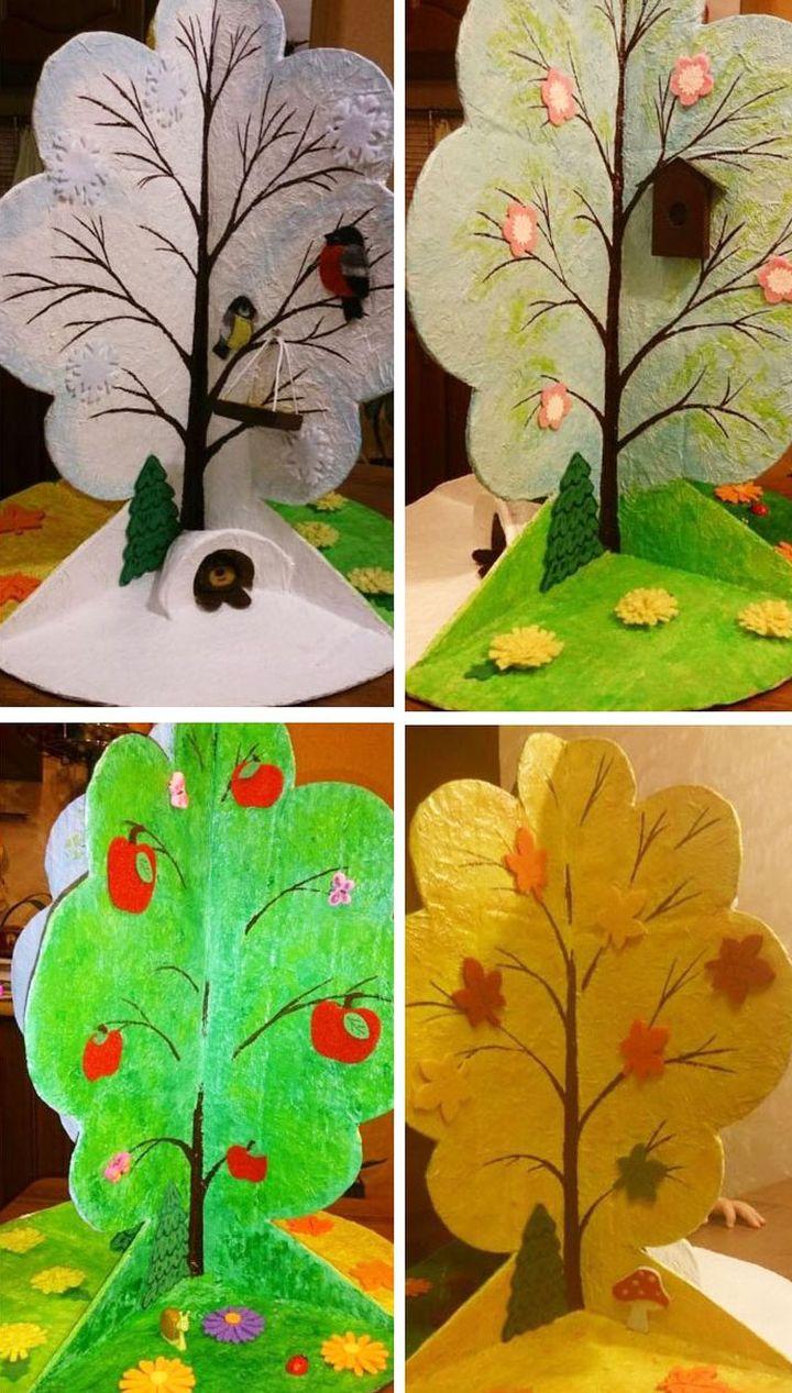 """Поделка в виде дерева """"Времена года"""""""