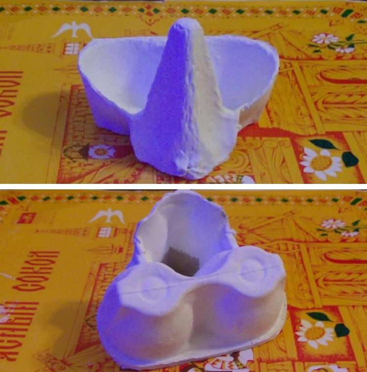 Поделка из контейнера для яиц: поэтапное изготовление