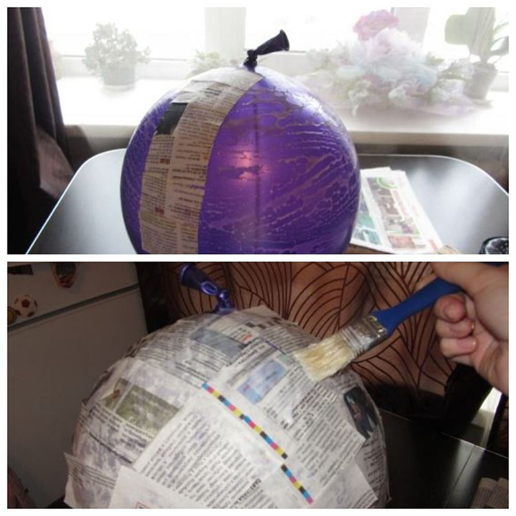 Поэтапное изготовление поделки луна в технике папье-маше